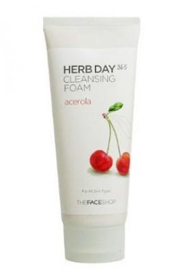 Пенка для умывания с экстрактом ацеролы THE FACE SHOP Herb Day 365 Cleansing Foam 170 мл: фото