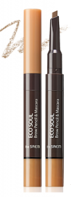 Тушь-карандаш для бровей THE SAEM Eco Soul Brow Pencil & Mascara 01 Light Brown 0,2г/2,5мл: фото