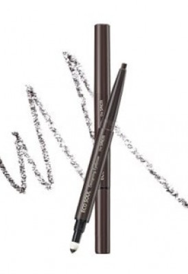 Карандаш для бровей 3 в1 THE SAEM Eco Soul Designing Eyebrow 02 Dark Brown 0,2г+0,12г: фото