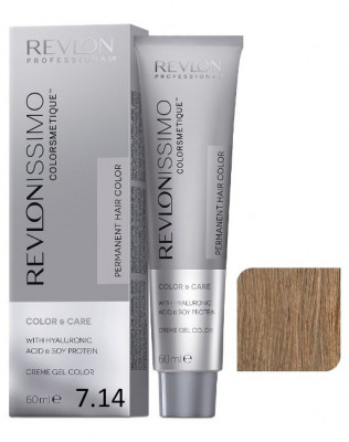 Краска перманентная Revlon Professional Revlonissimo Colorsmetique 7.14 Блондин Пепельно-Медный 60мл: фото