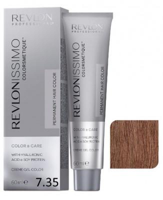 Краска перманентная Revlon Professional Revlonissimo Colorsmetique 7.35 Блондин Золотисто-Махагоновый 60мл: фото