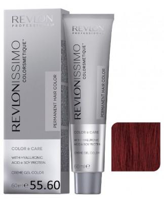 Краска перманентная Revlon Professional Revlonissimo Colorsmetique 55.60 Светло-Коричневый Насыщенно Красный 60мл: фото