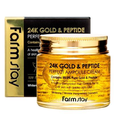 Крем ампульный с золотом и пептидами FarmStay 24K Gold & Peptide Perfect Ampoule Cream 80мл: фото