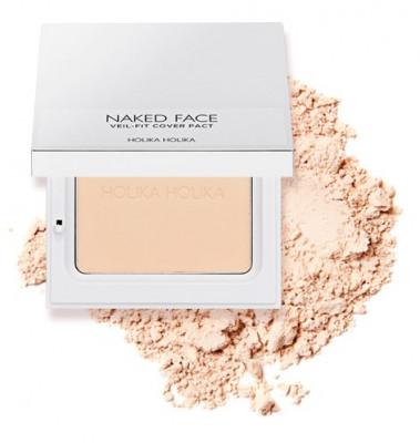 Пудра компактная Holika Holika Naked Face Veil-Fit Cover Pact 01 Light Beige, тон 01, светло-бежевый 12 г: фото