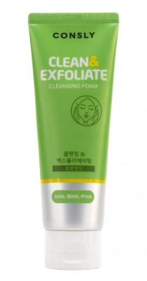 Пенка для умывания отшелушивающая с AHA, BHA, PHA кислотами CONSLY Cleansing Foam Clean&Exfoliate 120мл: фото