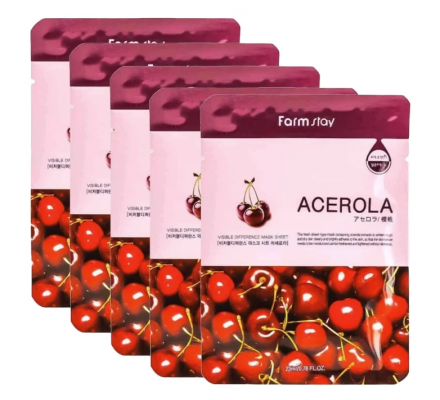 Набор тканевых масок экстрактом ацеролы FARMSTAY VISIBLE DIFFERENCE MASK SHEET ACEROLA 23мл*5шт: фото